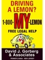 New Jersey Lemon Law Attorney David J. Gorberg