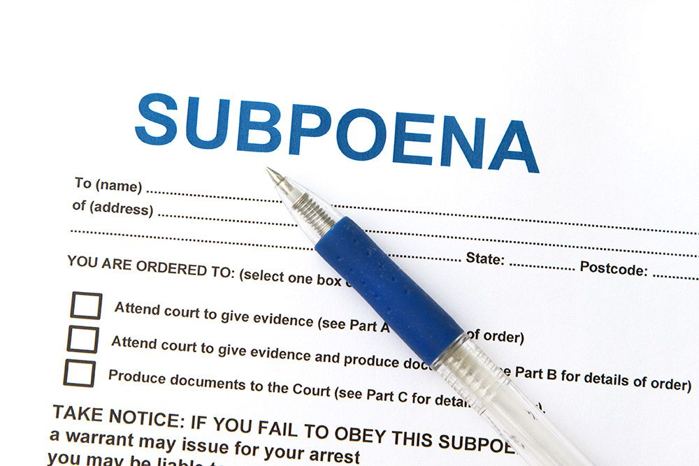 Image result for Subpoena